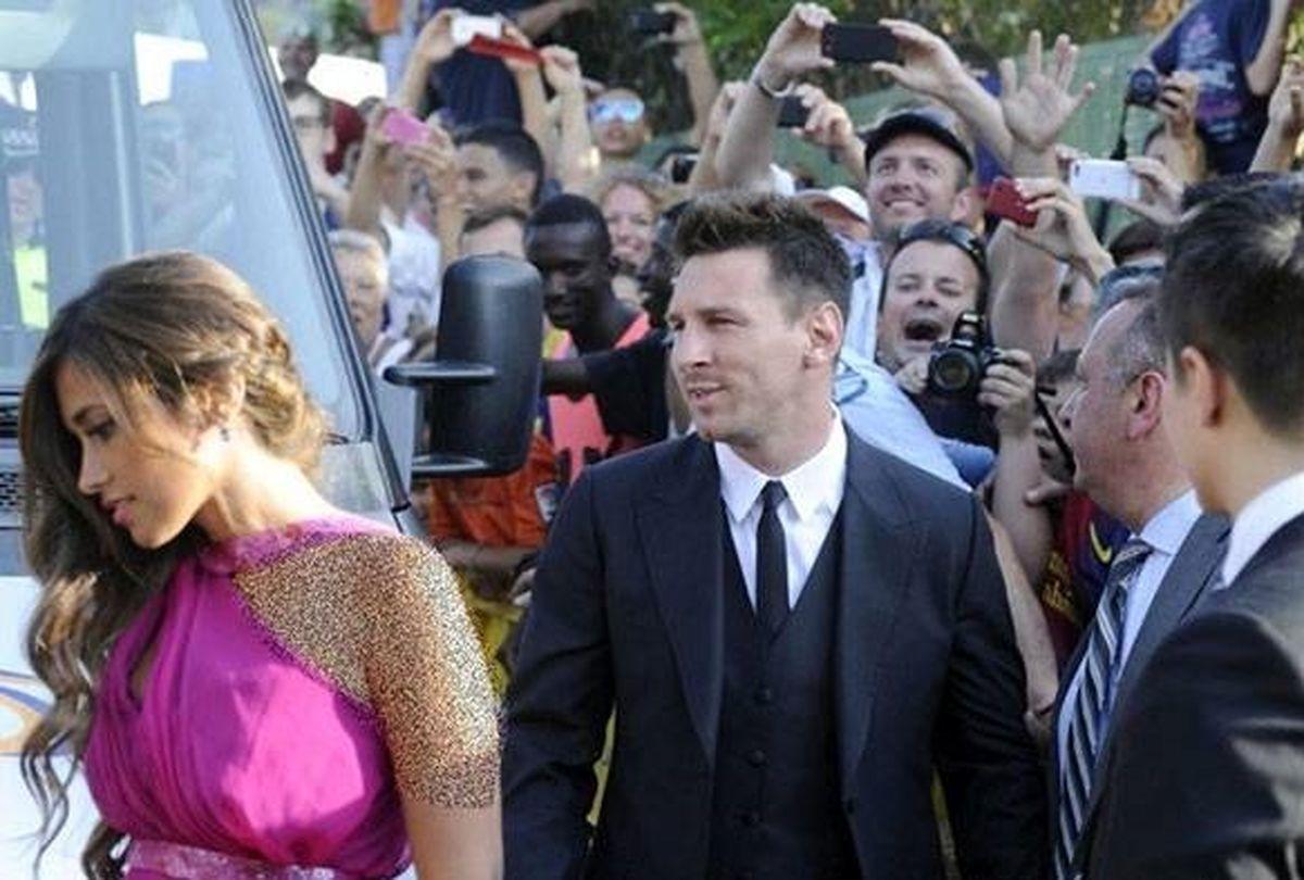 عکس عروسی لیونل مسی در کنار همسرش